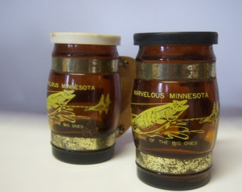 Vintage Brown Salt and Pepper Shakers Minnesota Souvenir