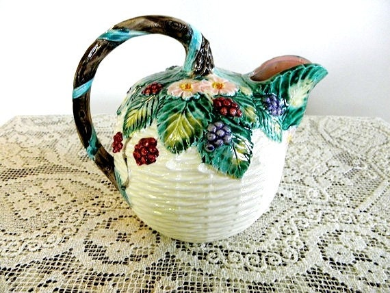 Vintage Haldon Group Majolica Berry Pitcher