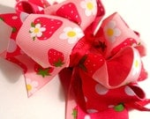 Girls Boutique Layered Hair Bow - Berry Beautiful - Pink, Red, Green, Strawberry, Sweet