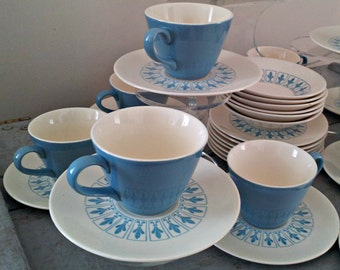 Vintage Homer Laughlin Blue Fleur De Lis China Dinnerware - Set of 36 Pieces - Cups and Saucers, Small Bowls and Plates