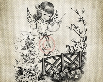 Black and White Vintage Angeland  Bluebirds  LARGE Digital Image Download Sheet Transfer To Totes Pillows Tea Towels T-Shirts - 120