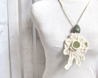 Fiber art necklace Linen Silk wearable art long necklace bohemian free form crochet jewelry eco tribal necklace nature inspired OOAK