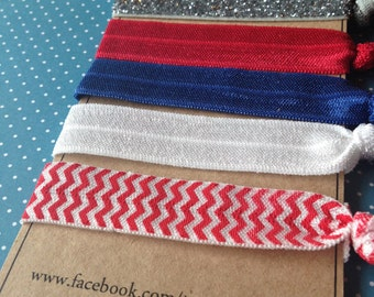 4th of July Hair Ties Hair Ties Red, White and Blue Glitter and Chevron Pony Tail Holder Elastic  4th of July