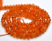 Bright Orange Carnelian Faceted Hand Cut Rondelles 3 to 4mm - 1/2 Strand