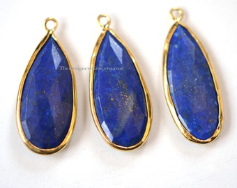 Blue Lapis Lazuli Elongated Pear Vermeil Gold Pendant 30x13mm