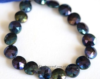 AB Blue Coated Black Spinel Faceted Coin Shape 12mm - 1/2 STRAND