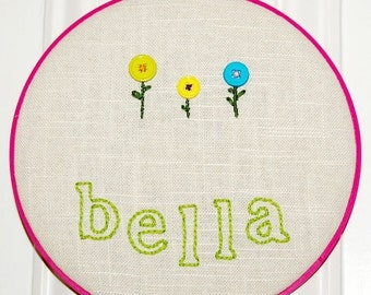 Kid's Room Sign. Little Flower Kid's Personalized Name Sign. Personalized Embroidered Children's Wall Art