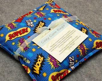 Corn Heating Pad Microwaveable -- Superhero, Child Snuggler 9x9