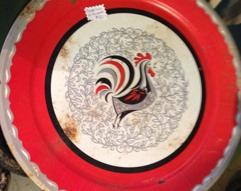 Vintage Tray. Metal Tray. Vintage 50's Metal Rooster Tray. Large Metal Tray