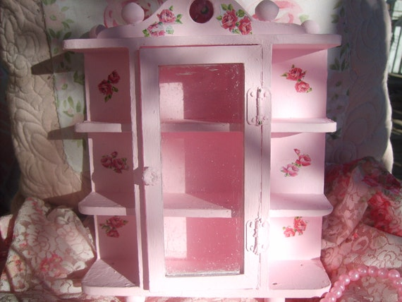 Items Similar To Shabby Chic Pink Vintage Dollhouse Miniature Curio Cabinet Sweet Furniture