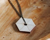 Hexagon Dial Layered Wood Pendant Necklace