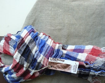 Linen Scarf  in French colors-Natural-Pure Linen