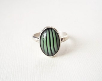 Sterling Silver and Glass Ring. Mint Green and Black Striped Glass on Hammered Silver Ring.