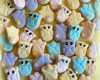 Owl and tulip cookies - Easter cookies - 2 dozen MINI cookies - spring cookies