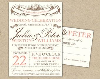 Vintage Modern Wedding Invitation and RSVP -Printable DIY. (1053)
