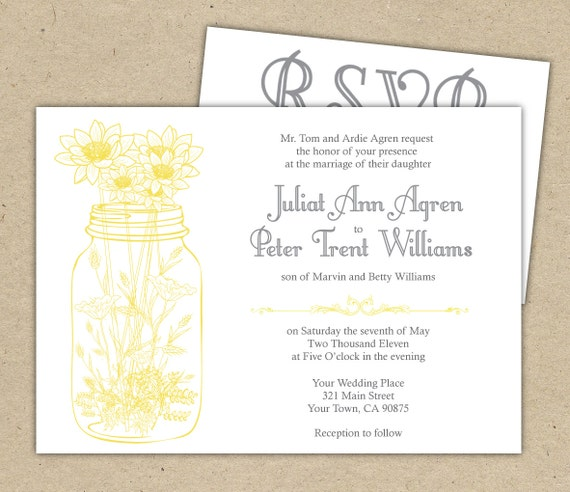 Rustic Wedding Invitations And RSVP Mason Jar And By