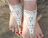 Ivory Crochet Barefoot Sandals, Nude shoes, Foot Jewelry, Wedding, Victorian Lace, Sexy, Yoga, Anklet , Bellydance,Beach