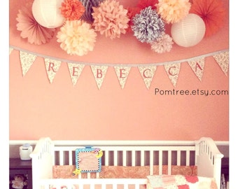 Nursery Decor Pack ...  3 Pomwheels and  7 Pompoms .... Pick Your Colors // wedding // birthday // party decoration// crib mobile