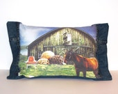 Upcycled Recycled Denim Jeans Toss Pillow Horse Twine Collage OOAK