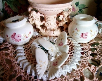 Vintage Homco Candle Holders and Butterflies Set , porcelain with hand painted PINK ROSES, Cottage Romantic Chic Wedding