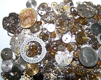 SALE 50% Off STEAMPUNK GEARS 130 pieces Vintage Watch Lot Plus Best Artist Steam Punk Movement Parts Industrial