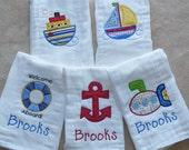 Personalized Nautical Burp Cloth Set