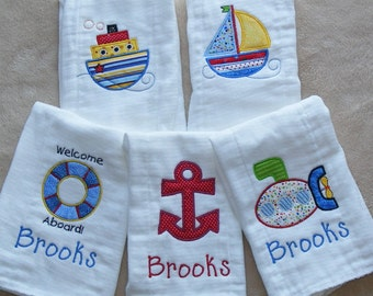 Personalized Nautical Burp Cloth Set
