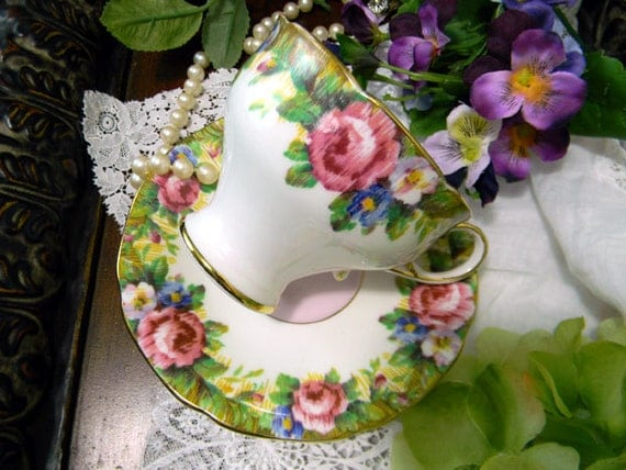 Paragon bone china tea cup by appointment tapestry rose design pink