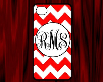 Personalized red and white chevron iPhone 4 covers, iPhone 4s or iPhone5 case