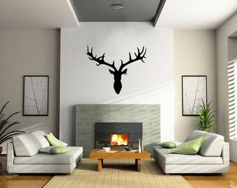 Deer Head Wall Decal: Wall Art Vinyl Stickers