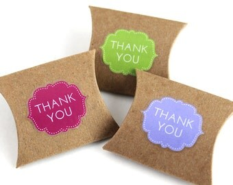 "Thank You Stickers in assorted colors - 48 mini clear die-cut decals, cute envelope seals, wedding favor stickers - 1.125"" x 1"""
