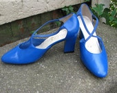 vintage 1980s blue leather strappy pumps size 7