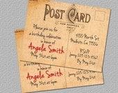 Printable Vintage Postcard Invitation, Bridal Shower or Birthday Invitation, Invite