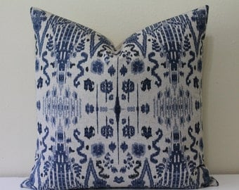 """Kuma Ikat Print in Navy by Pindler & Pindler - 18"""", 20"""", 22"""" or 24"""" Square - Navy and Oatmeal  - Decorative Designer Pillow Cover"""