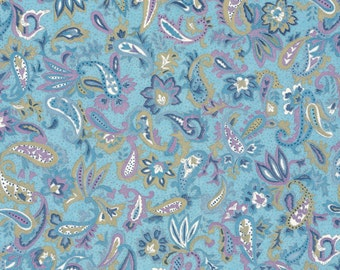 Japanese Chiyogami Yuzen - approx A4 blue and mauve paisley