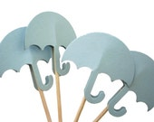 24 Baby Blue Umbrella Party Picks, Cupcake Toppers, Food Picks, Toothpicks, Drink Picks - No550
