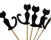 24 Black Cat Party Picks, Food Picks, Cupcake Toppers, Toothpicks - red, green, blue - No812 - BelowBlink