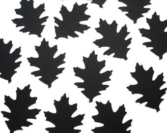 100 Halloween Black Oak Leaf Punch Die Cut Cutout Confetti Scrapbooking Embellishments - No327