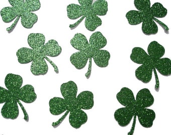 50 St. Patricks Day Glittered Green Shamrock Four-Leaf Clover punch die cut cutout confetti scrapbooking embellishments - No872