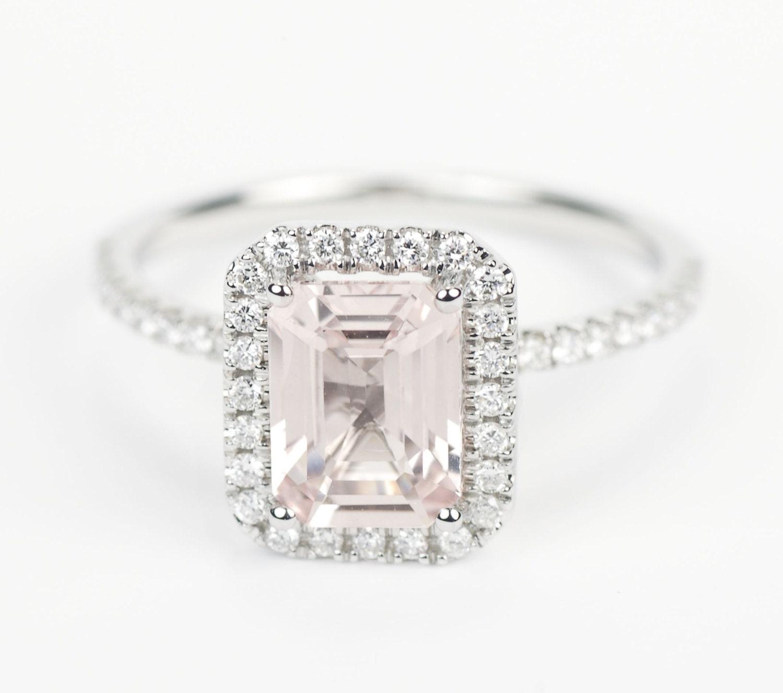 Certified Light Peach Pink Champagne Emerald Cut Sapphire