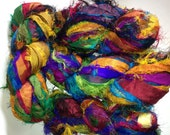 Recycled Premium Fuzzy Sari Silk Ribbon Yarn 50 Yards