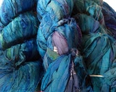 Recycled Indigo Sari Silk Ribbon Yarn 50 Yards