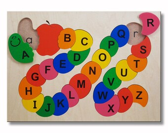 Wooden Alphabet ABC Puzzle | Capital and Lower Case Letters