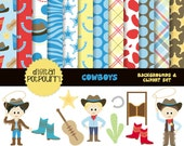 buy2get1 cowboys clipart and paper - 22 pc set -