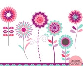 buy2get1 flowers clipart set - mod flowers pinks and blues