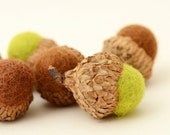 Felted Acorns,  green brown natural home decor nature woodland forest ecofriendly