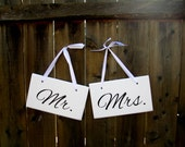 "6"" x 10"" Wooden Wedding Sign: 2pc Set Double sided - Mr. & Mrs. and Thank You"