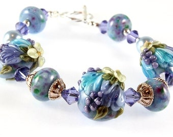Lavender and Blue Lampwork Bracelet - Sterling Silver - Tulips and Hyacinths