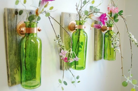 Colored Glass Wall Decor : Farmhouse style glass bottle trio wall decor