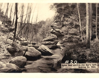 Old Man's Cave Hocking County OH RPPC Real Photo Postcard Vintage